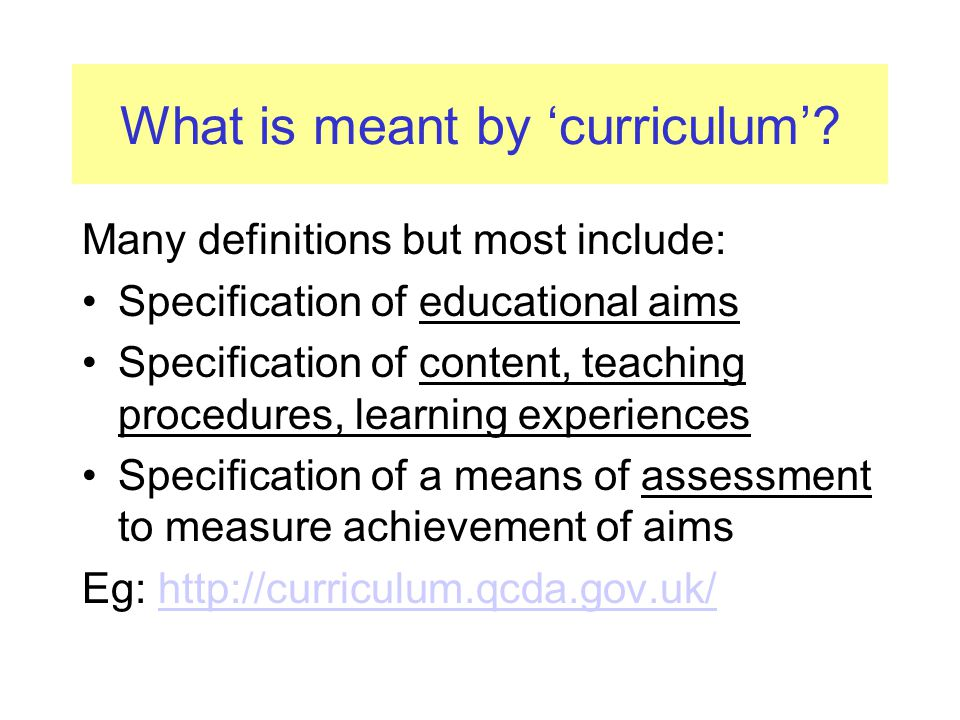 What is meant by 'curriculum'