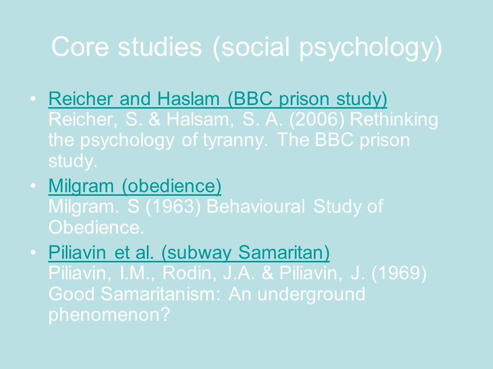 Core studies (social psychology)