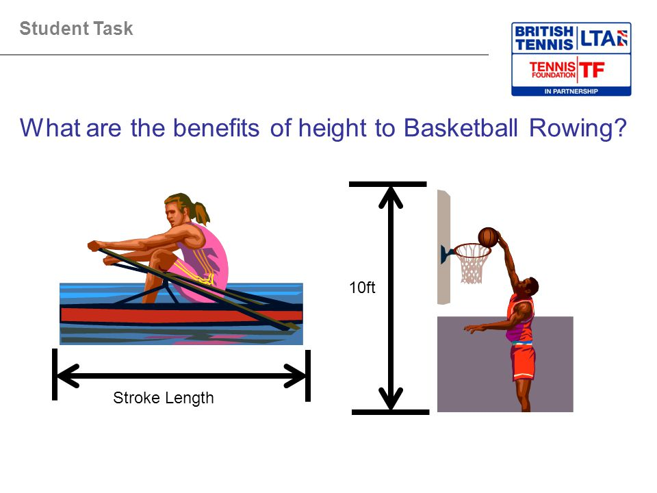 What are the benefits of height to Basketball Rowing