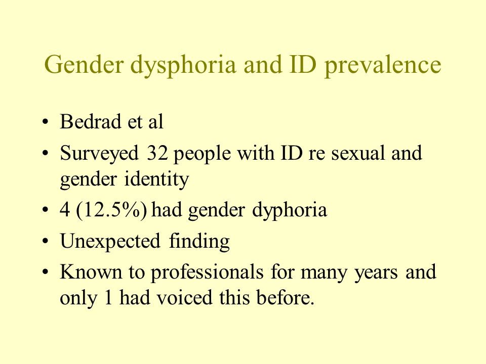 Gender dysphoria and ID prevalence