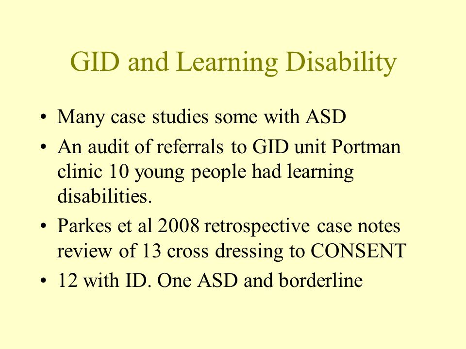 GID and Learning Disability