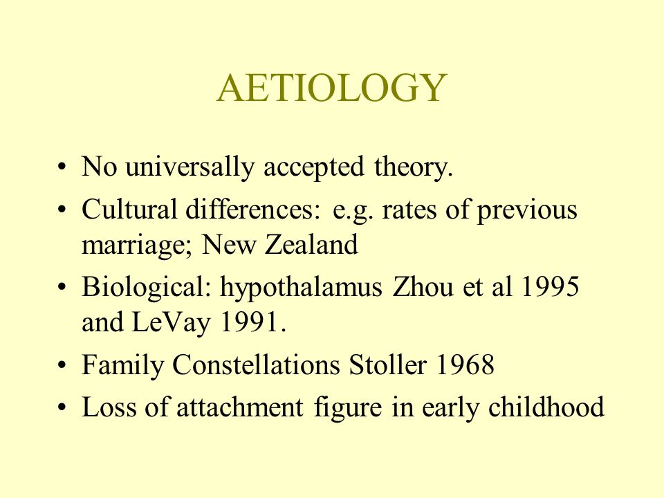 AETIOLOGY No universally accepted theory.