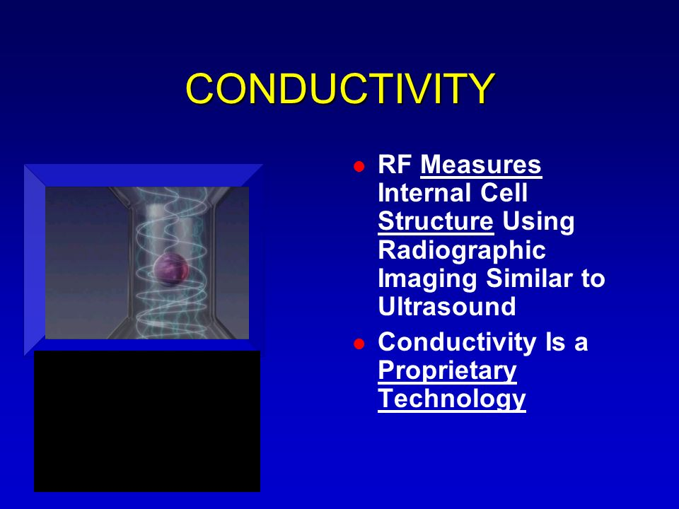 CONDUCTIVITY RF Measures Internal Cell Structure Using Radiographic Imaging Similar to Ultrasound.