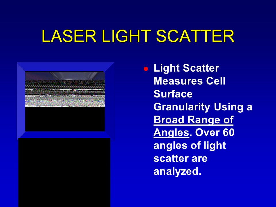 LASER LIGHT SCATTER Light Scatter Measures Cell Surface Granularity Using a Broad Range of Angles.