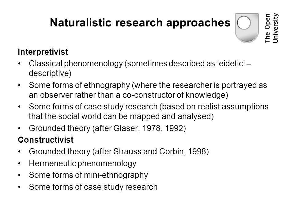 Naturalistic research approaches