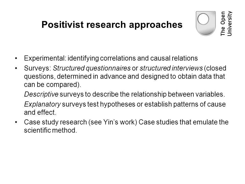 Positivist research approaches