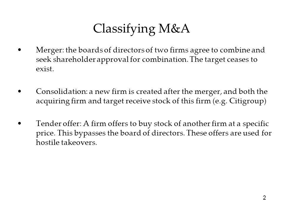 Classifying M&A