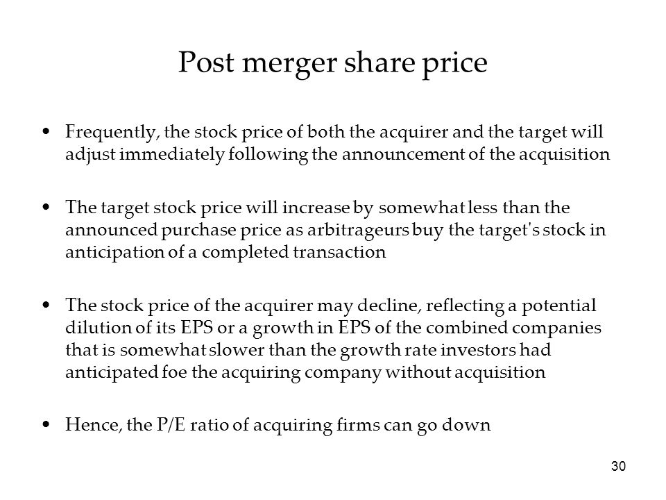 Post merger share price