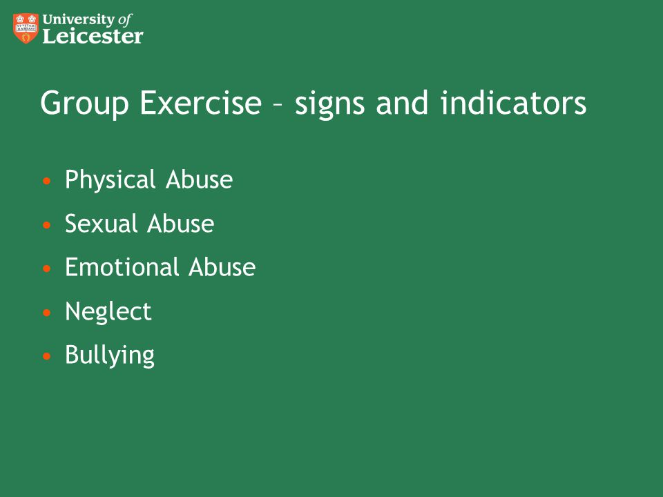 Group Exercise – signs and indicators