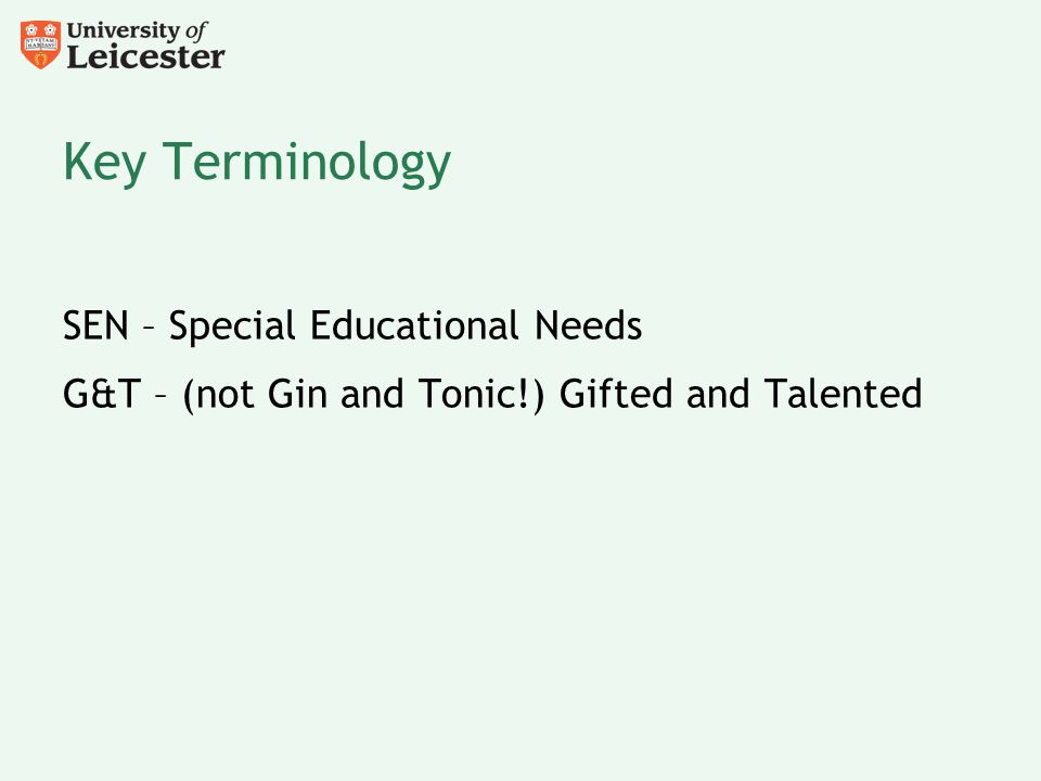 Key Terminology SEN – Special Educational Needs G&T – (not Gin and Tonic!) Gifted and Talented