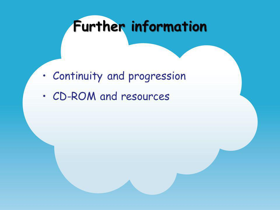 Further information Continuity and progression CD-ROM and resources