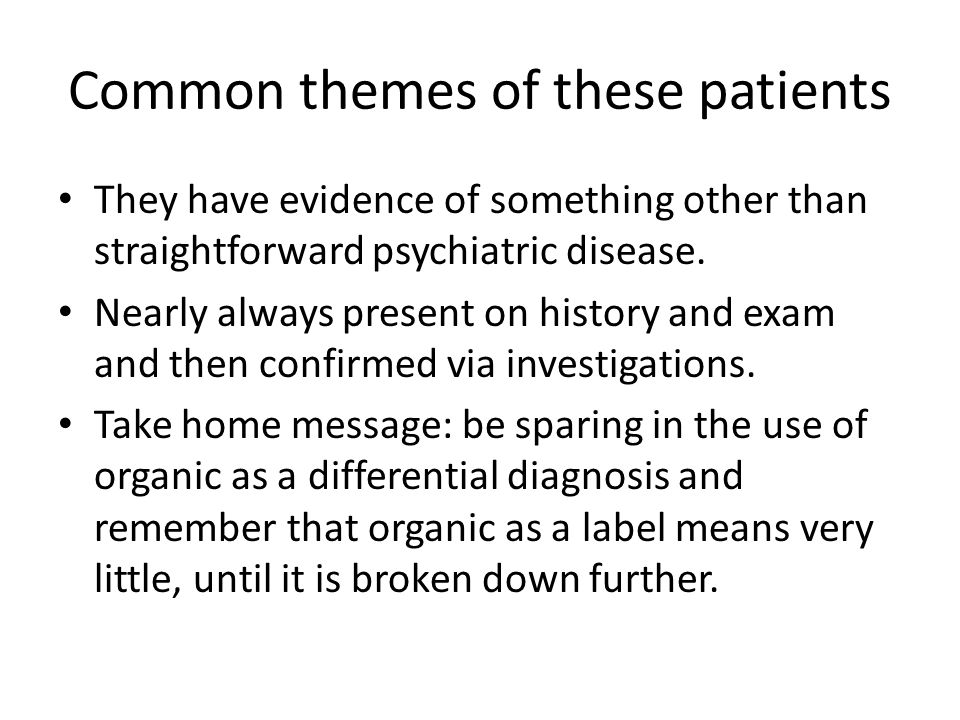 Common themes of these patients