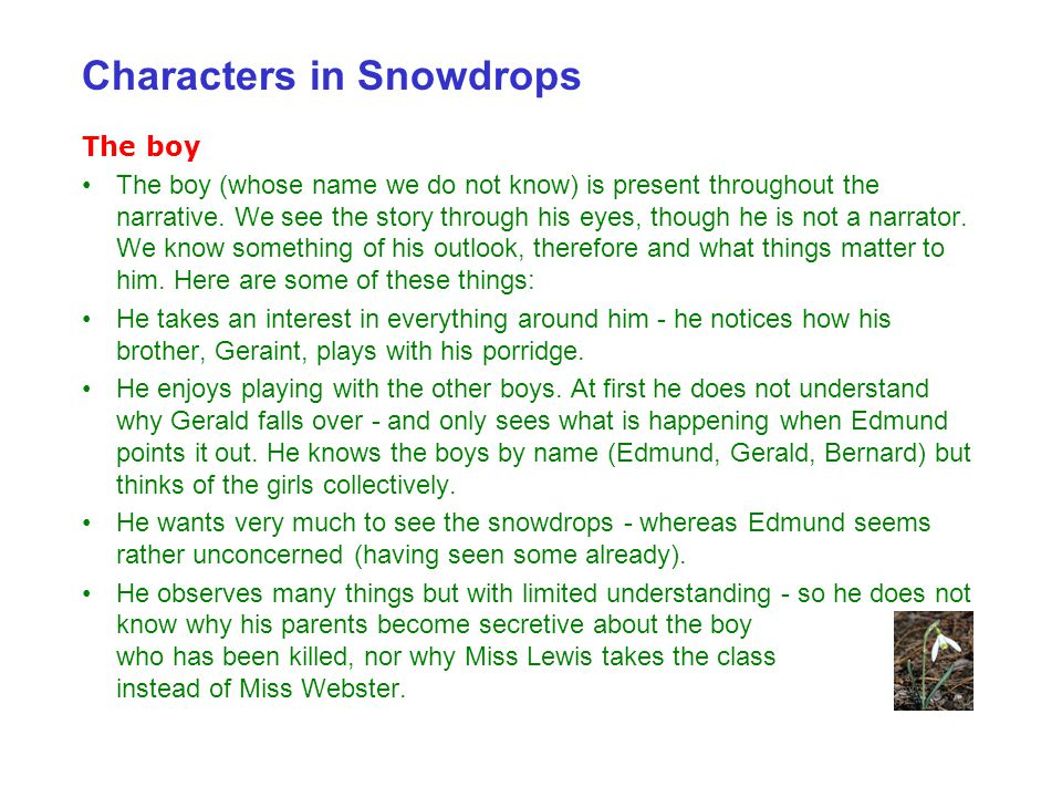 Characters in Snowdrops