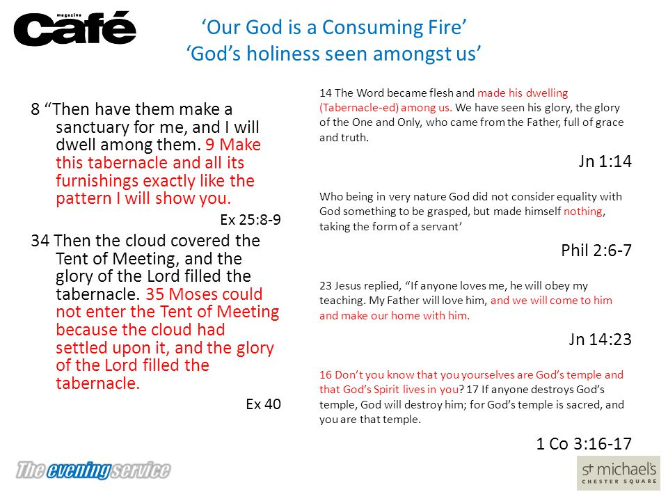 'Our God is a Consuming Fire' 'God's holiness seen amongst us'