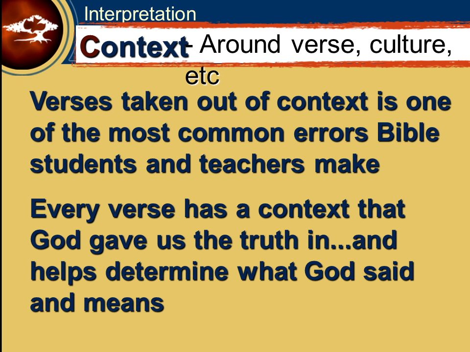 C Context - Around verse, culture, etc