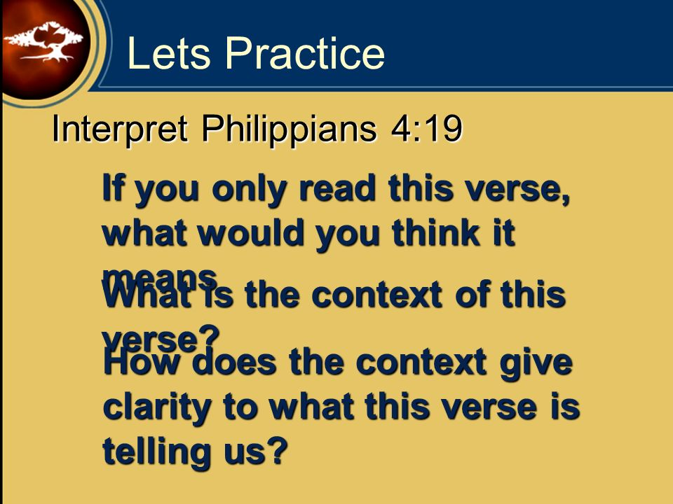 Lets Practice Interpret Philippians 4:19