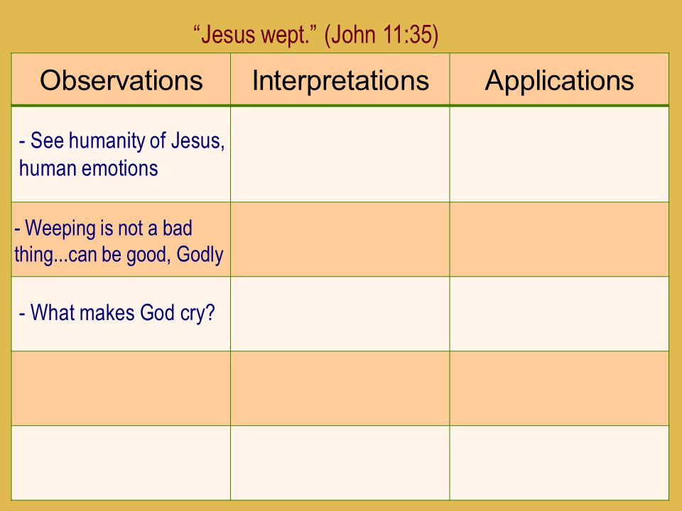 Observations Interpretations Applications Jesus wept. (John 11:35)