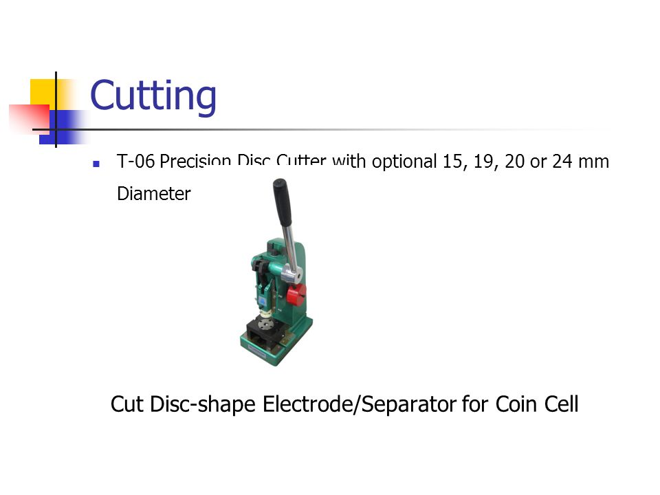 Cutting Cut Disc-shape Electrode/Separator for Coin Cell