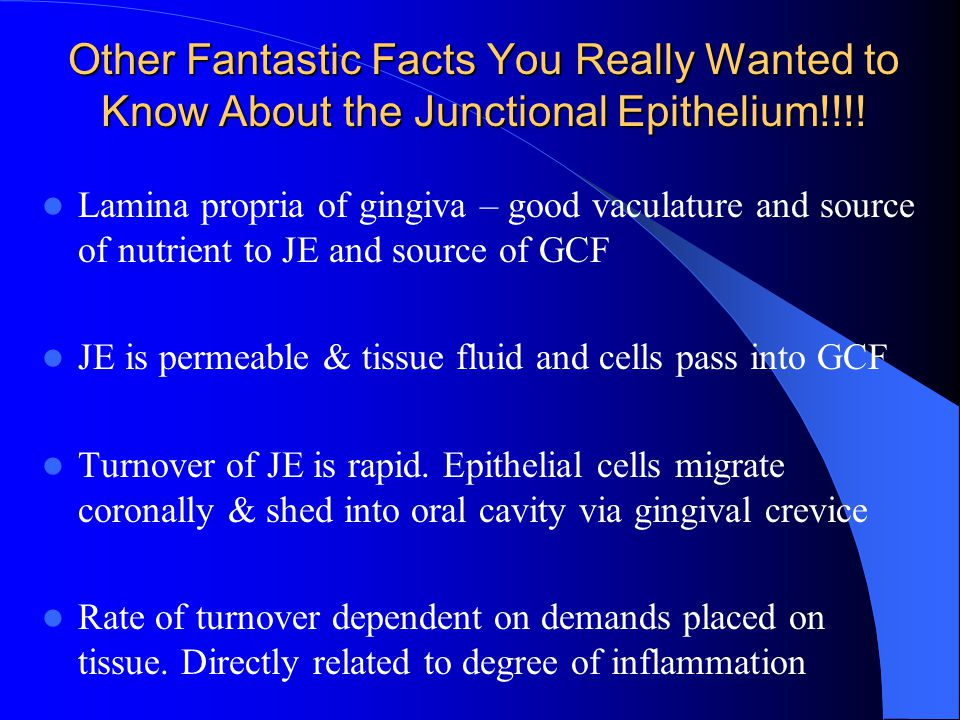Other Fantastic Facts You Really Wanted to Know About the Junctional Epithelium!!!!