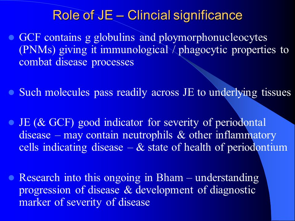 Role of JE – Clincial significance