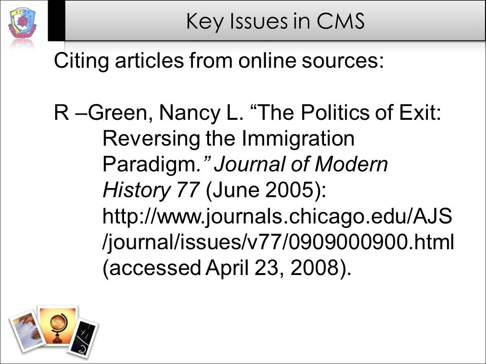 Citing articles from online sources: