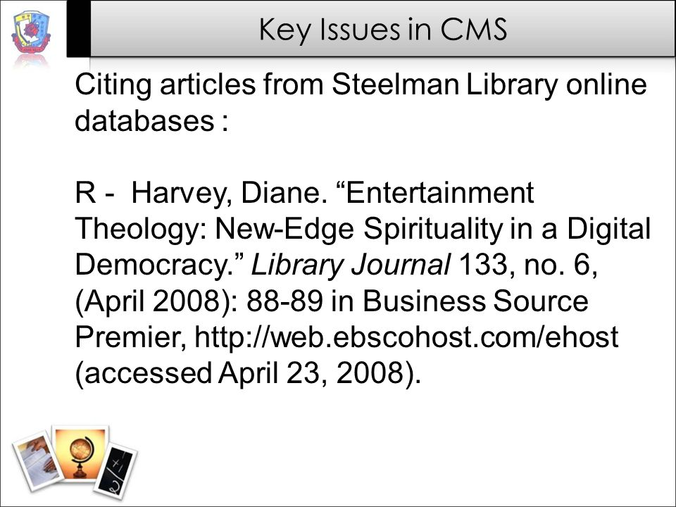 Citing articles from Steelman Library online databases :