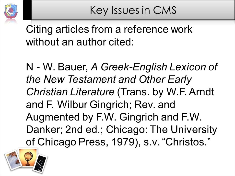 Citing articles from a reference work without an author cited: