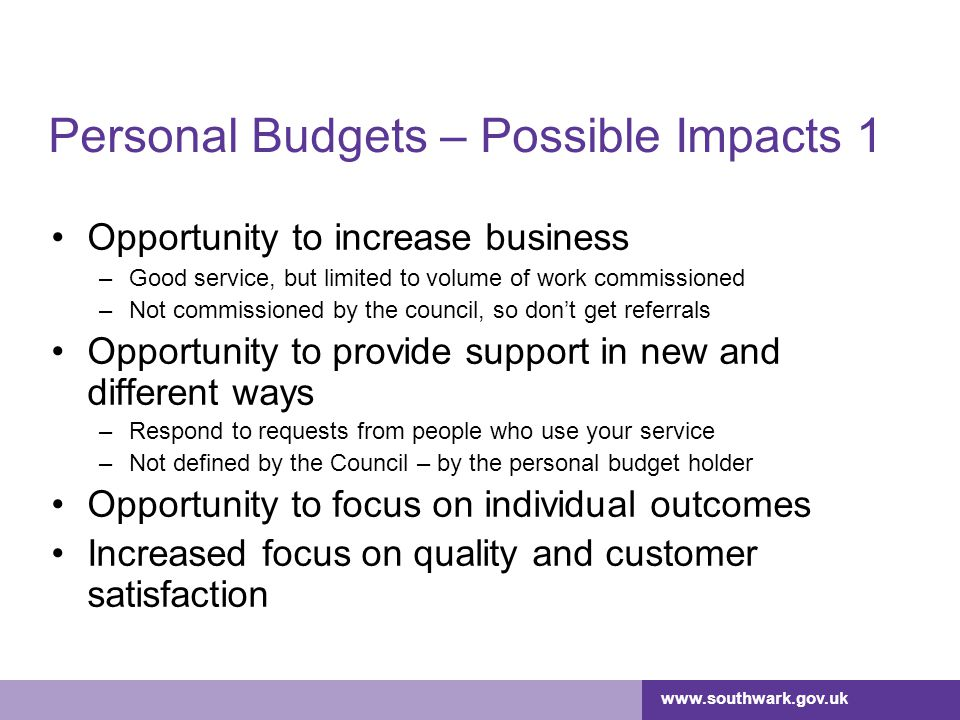 Personal Budgets – Possible Impacts 1