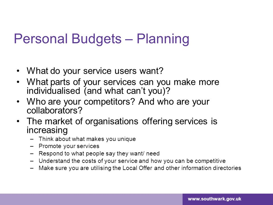 Personal Budgets – Planning