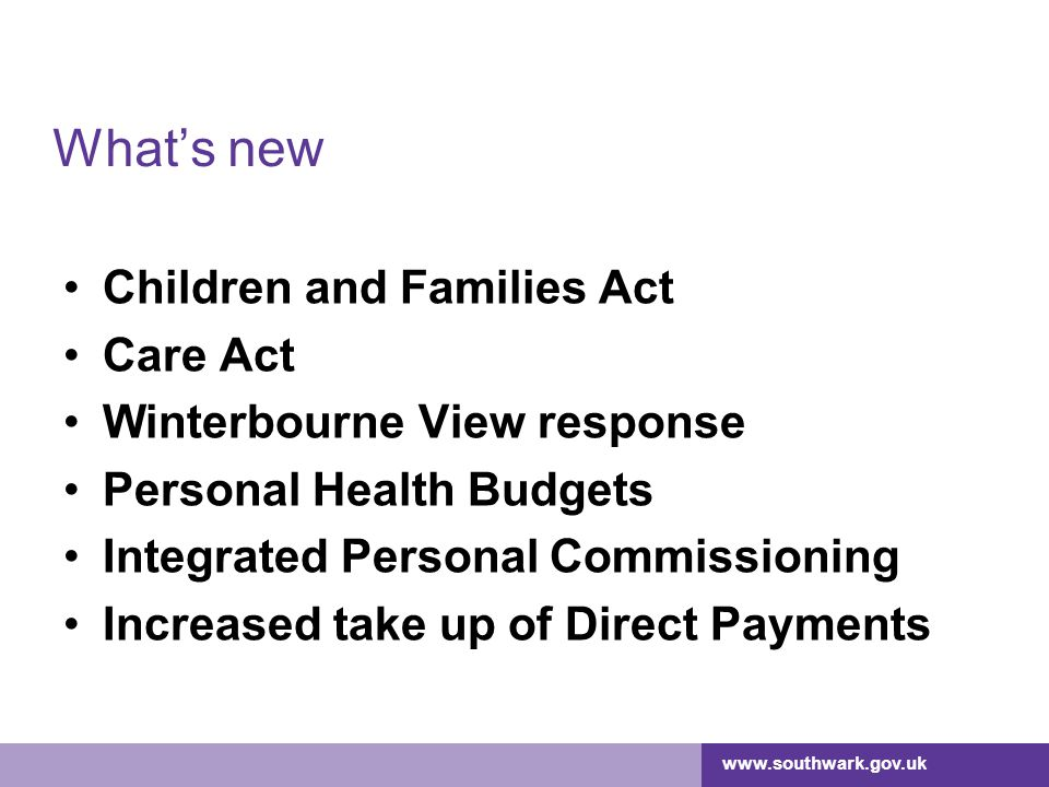 What's new Children and Families Act Care Act