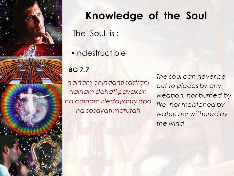 Knowledge of the Soul The Soul is : indestructible BG 7.7