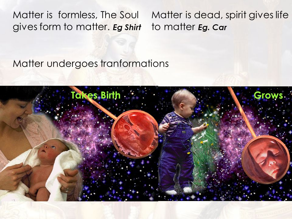 Matter is formless, The Soul gives form to matter. Eg Shirt