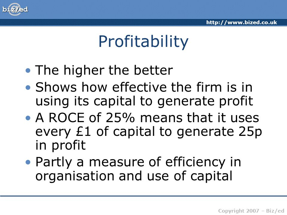 Profitability The higher the better