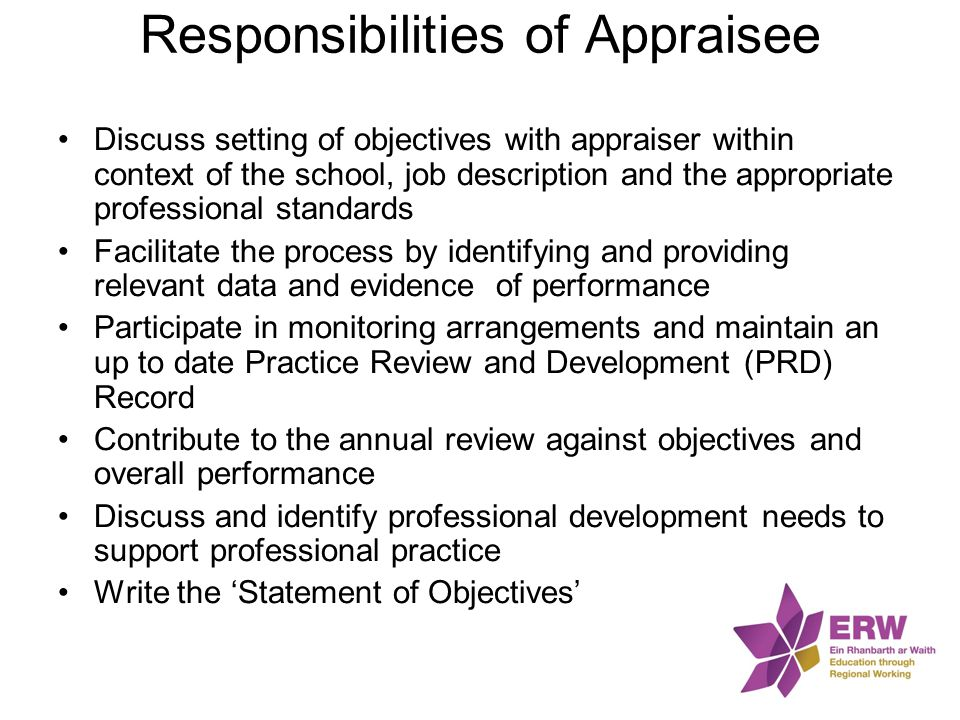 Responsibilities of Appraisee