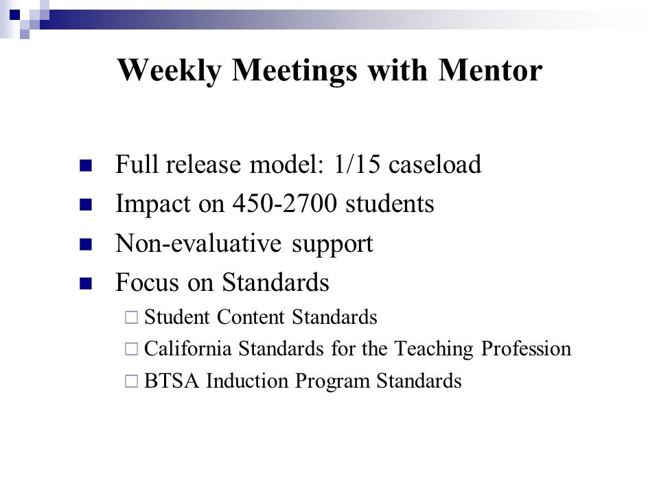 Weekly Meetings with Mentor