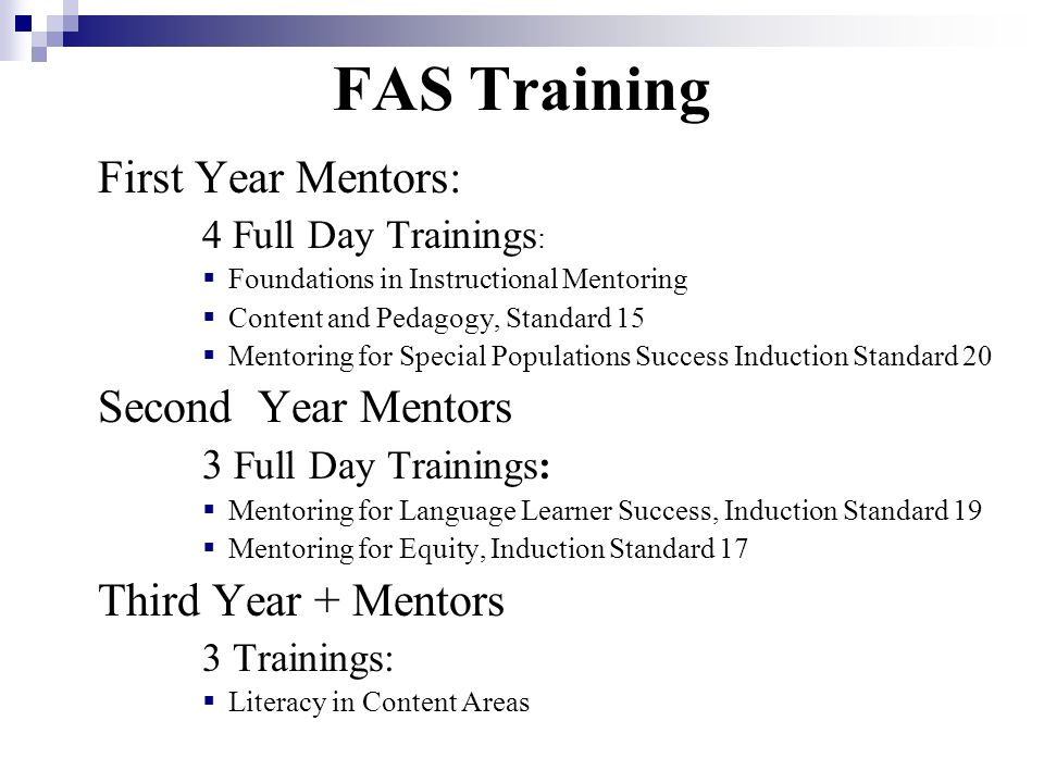 FAS Training First Year Mentors: Second Year Mentors