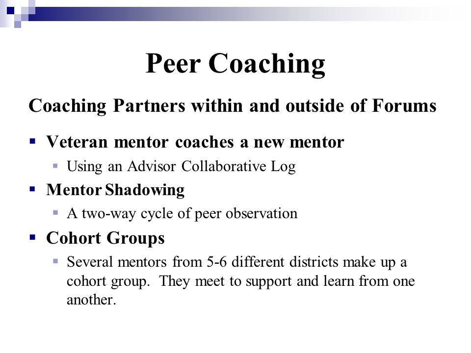 Peer Coaching Coaching Partners within and outside of Forums