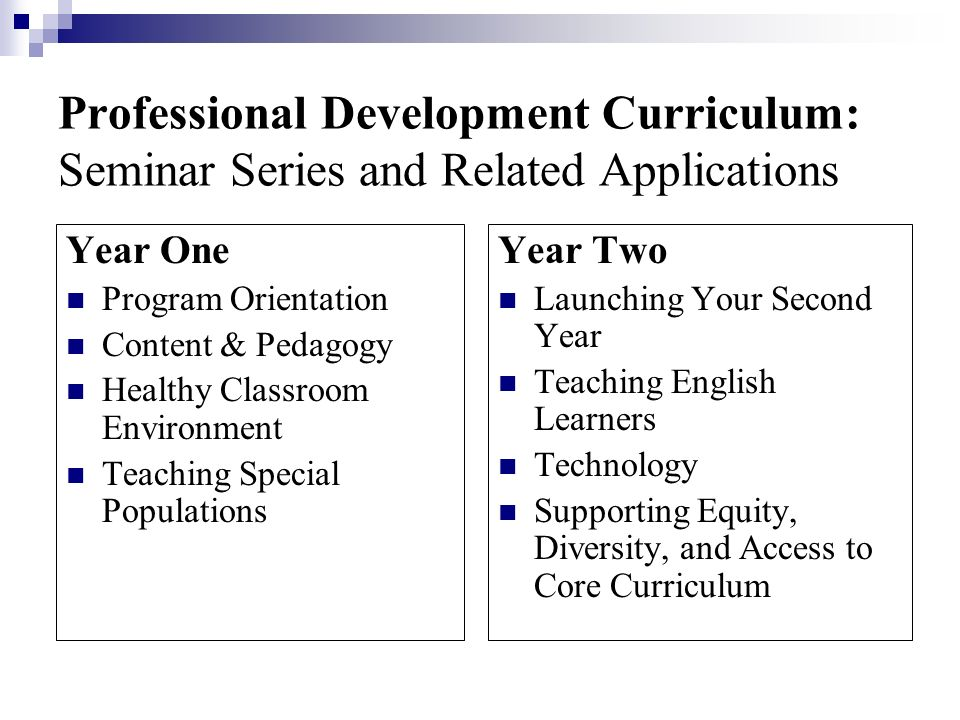 Professional Development Curriculum: Seminar Series and Related Applications
