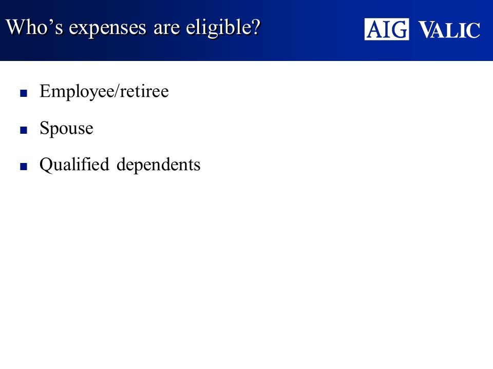 Who's expenses are eligible