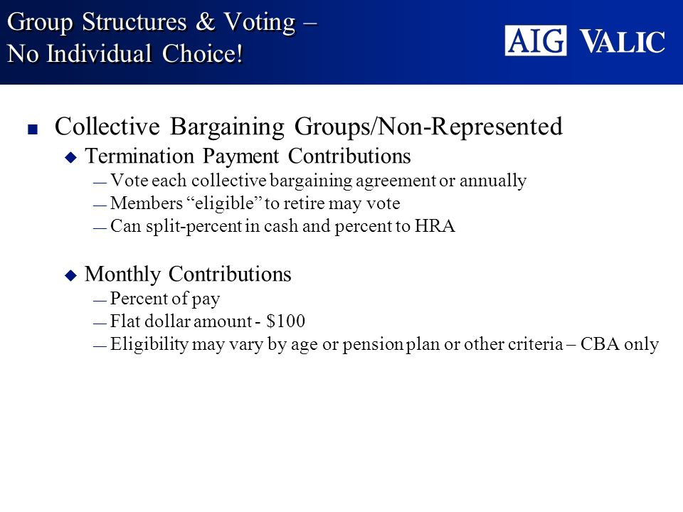 Group Structures & Voting – No Individual Choice!