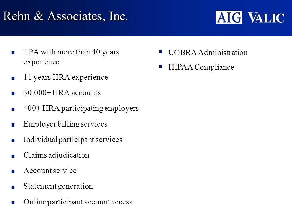 Rehn & Associates, Inc. TPA with more than 40 years experience