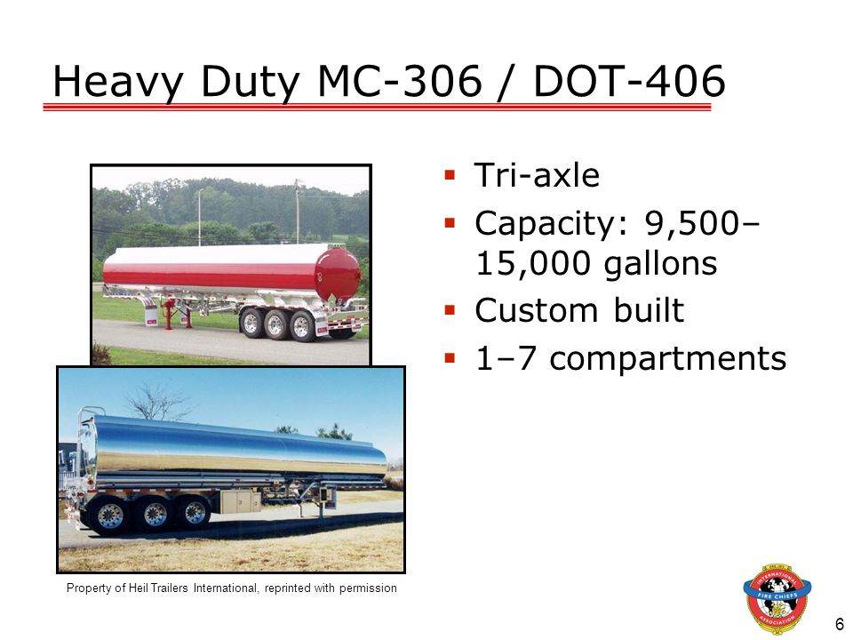 Heavy Duty MC-306 / DOT-406 Tri-axle Capacity: 9,500–15,000 gallons