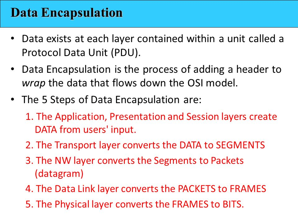 Data Encapsulation Data exists at each layer contained within a unit called a Protocol Data Unit (PDU).
