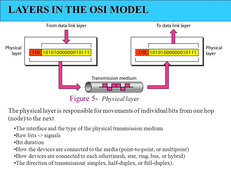 LAYERS IN THE OSI MODEL Figure 5- Physical layer