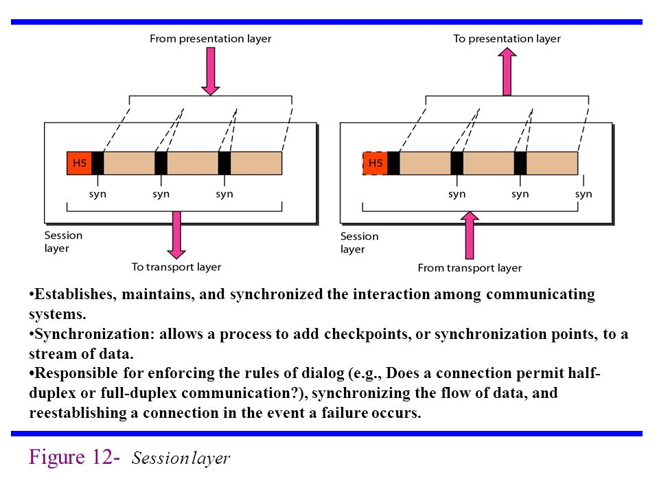 Establishes, maintains, and synchronized the interaction among communicating systems.
