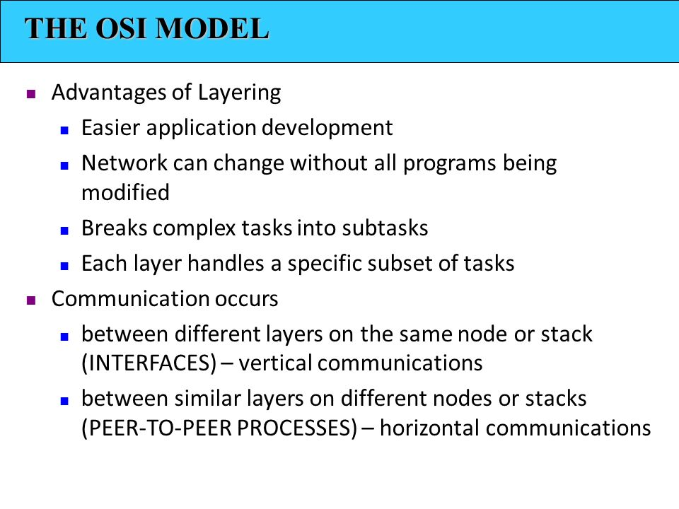 THE OSI MODEL Advantages of Layering Easier application development