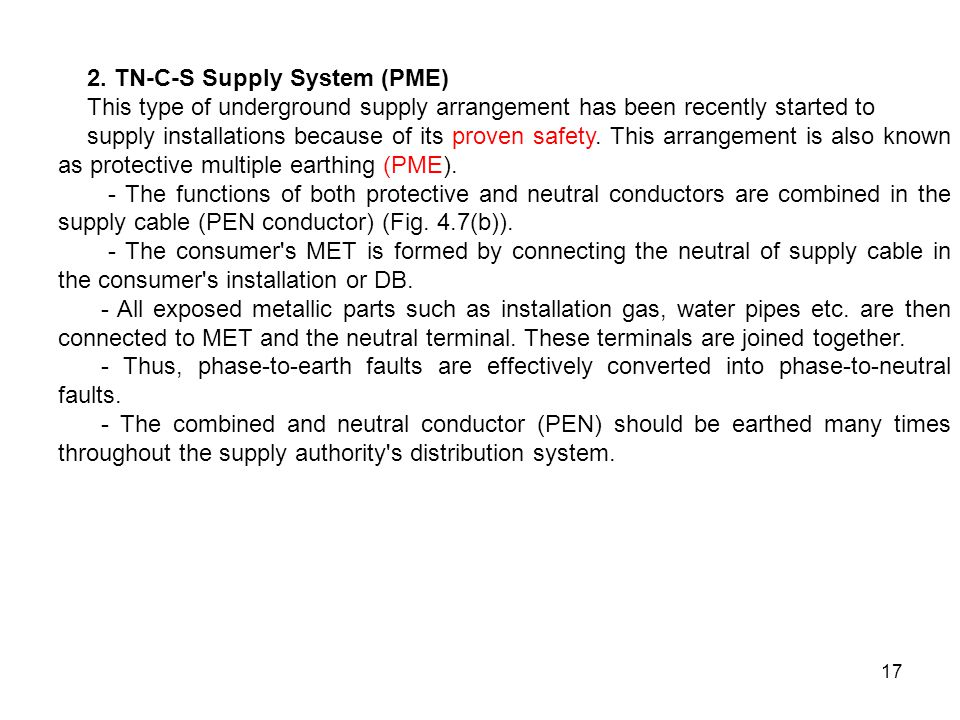 2. TN-C-S Supply System (PME)