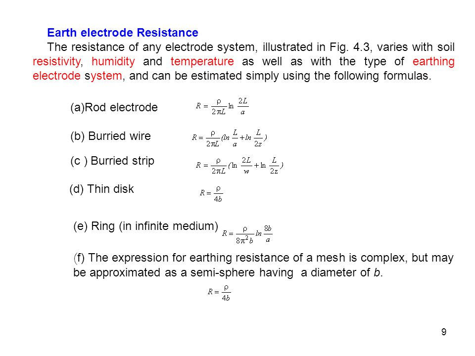 Earth electrode Resistance