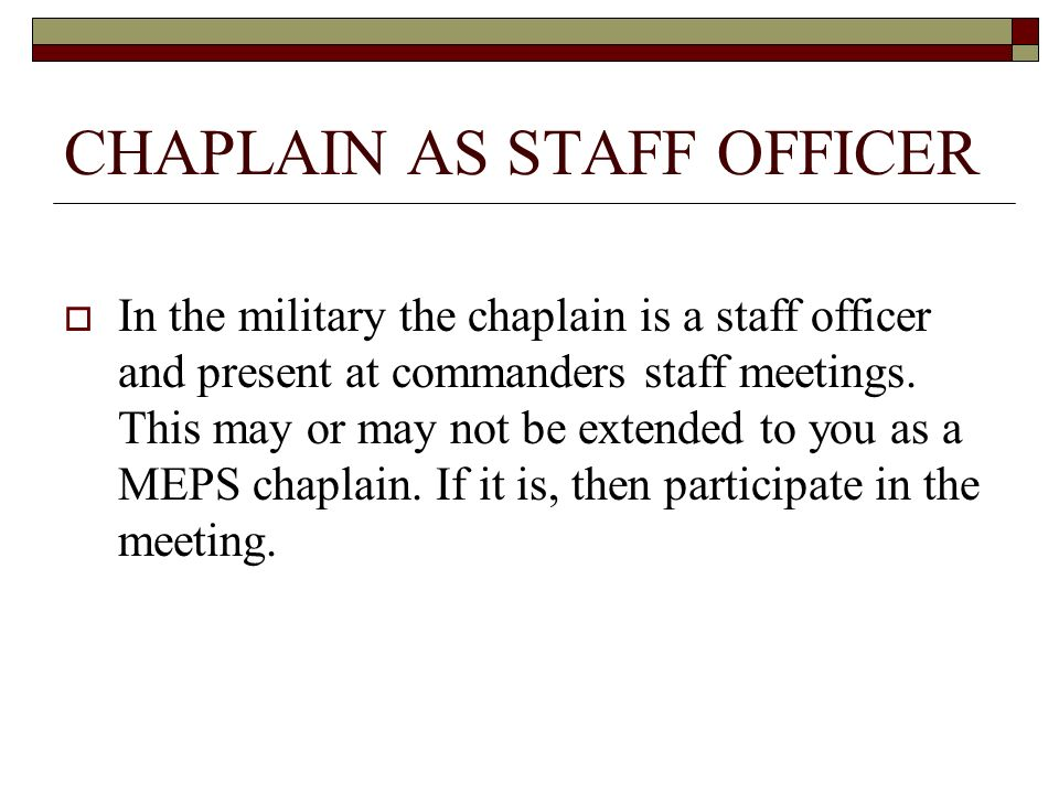 CHAPLAIN AS STAFF OFFICER