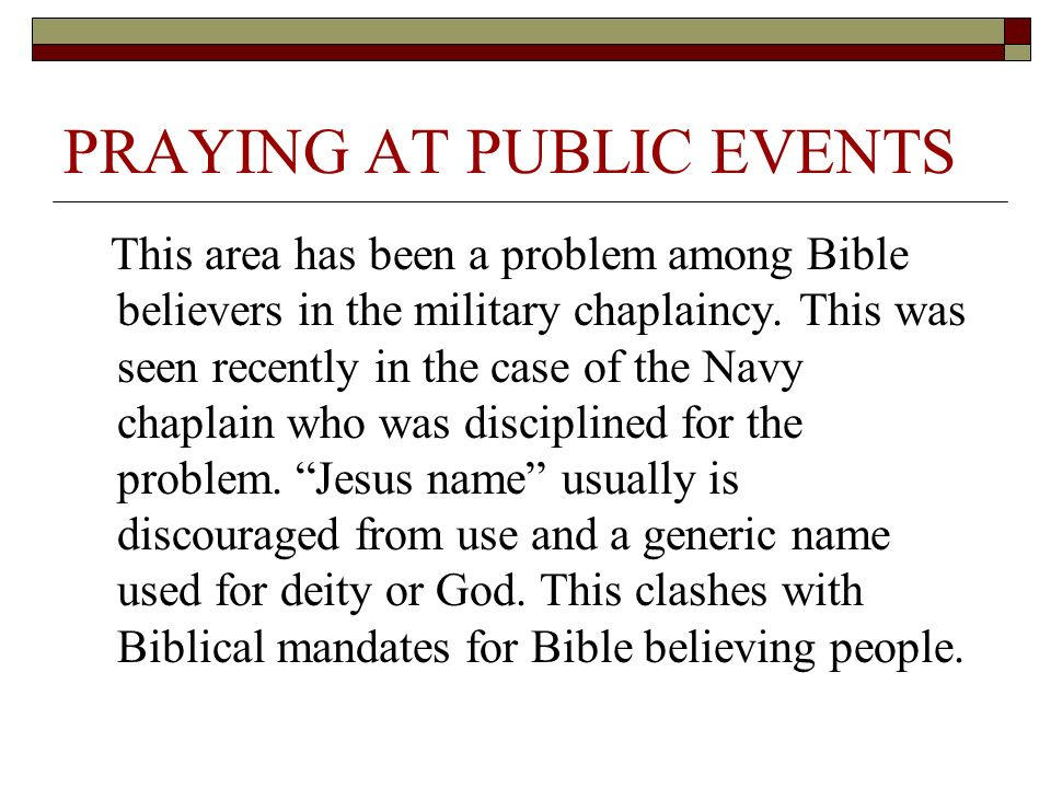 PRAYING AT PUBLIC EVENTS